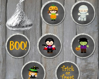 108 Printed Halloween Themed Hershey Kiss Stickers - Halloween Party Stickers - Chocolate Kiss Stickers - Buy 3 Get 1 Free