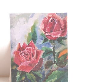 Cards Pink roses All Occasion Blank Greeting Cards with Envelope, flowers art, Romantic card, valentine cards, gift for Mom