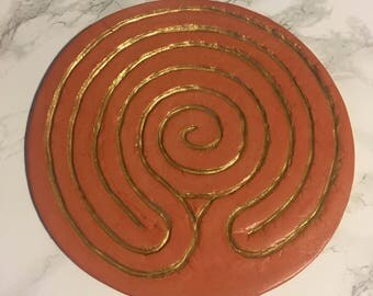 Tabletop Finger Labyrinth for Meditation - Terracotta and Gold