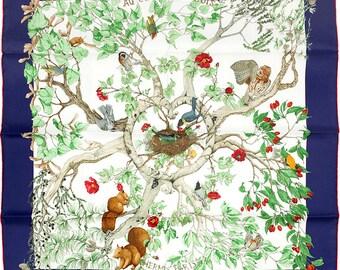 """HERMES SCARF Silk """"Au Coeur des Bois"""" by Zoe Pauwels 90cm Carre 100% Auth"""