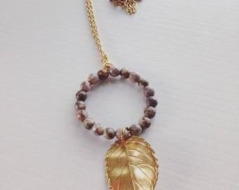 Jasper brass leaf necklace