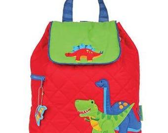 Stephen Joseph Quilted Backpack Dinosaur Theme Monogrammed Boys Backpack