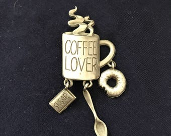 Coffee lover Broach / coffee cup - spoon - donut - sugar