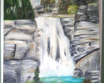 Landscape Art, Oil Painting on canvas, Painting of Waterfall on Canvas