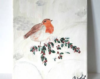 Bird in the snow, winter landscape on canvas, Art