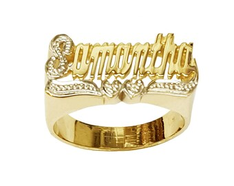 Lee113dc-10K 10mm Size 10K Gold Script Letter Accent on First Initial and Two-hearts Tail Name Ring