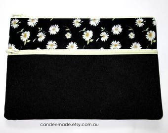 Beautiful Floral and black Pencil case/ Makeup Bag 21.5cm x 14.5cm With Two Pockets and  light yellow Zippers,