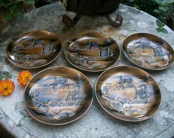 1970s Set Of Five Japanese Showa Period Bakelite Urushi Lacquerware Meimeizara Small Plates For Tea Ceremony Sweets