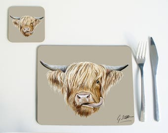 Set of 4 Or 6 Scottish Highland Cow Placemats