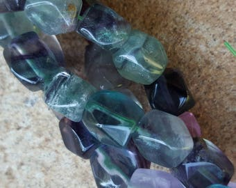 """Natural Fluorite Faceted Rhombus Beads - 15.7"""" Strand"""