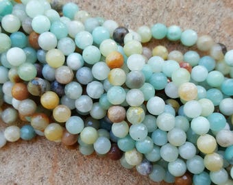 """Natural Amazonite 6mm Faceted Round Beads - 15.5"""" Strand"""