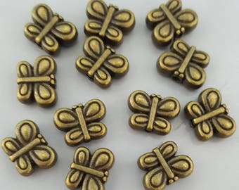 Double Sided Bronze/Antique Brass Butterfly Beads, 10x7.5x4.5mm - Select 10 or 20