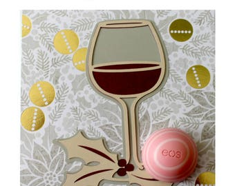 Wine Lover Gift • Wine EOS Lip Balm Card • Stocking Stuffer • Coworker Gifts • EOS Lip Balm Holder • Wine Christmas Card • Gifts for Her