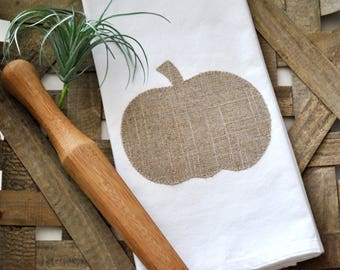 Farmhouse Pumpkin Flour Sack Towel | Fall Flour Sack Towel | Farmhouse Pumpkin Kitchen Towel | Appliqué Fall Towel