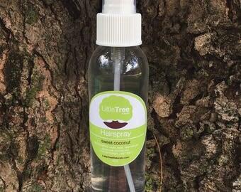 Sweet Coconut Hairspray- Vegan hairspray. All Natural hairspray. Homemade hairspray. Medium flexable hold hairspray.