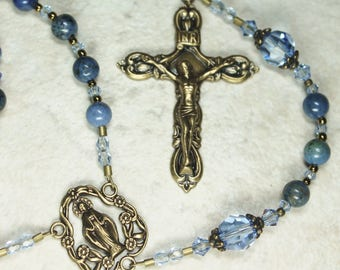 Woman's Catholic Rosary; Blue Rosary; Sunset Dumortierite & Brass Rosary