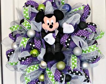 Dancing Vampire Mickey Wreath, Halloween Mickey Wreath, Halloween Wreath