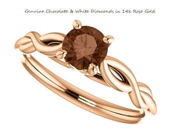 0.50 Carat Genuine Chocolate Diamond Ring in 14K Rose Gold