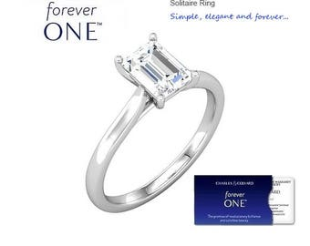 1.00 Carat (7x5mm) Emerald Cut Moissanite Forever One Solitaire Engagement Ring (with Charles & Colvard authenticity card)