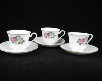 3 Demitasse Cup and Saucer sets Bone China Rose Design Gold Trim~ Made in China