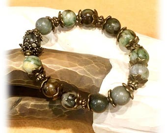 Beaded Bracelet, Women's Bracelet, Gemstone Jewelry, Green Agate Bracelet, Jewelry Handmade, Jewelry for Her, Women's fashion, Gift for Her