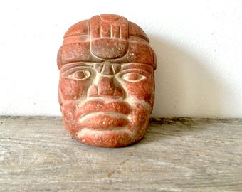Vintage terracotta Olmec pottery teproduction head