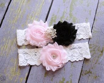 ON SALE Pale Pink Black Wedding Garter, Bridal Garter Set, Keepsake, Toss, Throw Garter, Gothic Wedding, Dark Wedding, Black  Garter