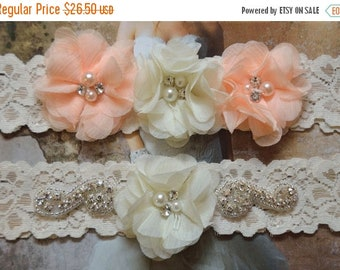ON SALE Bridal Garter Set, Wedding Garter Set, Ivory Lace Garter, Ivory Garter Set, Bridal Accessories, Violet Style 10355