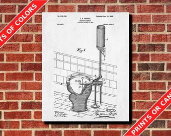 Bathroom Wall Art Bathroom Poster Toilet Blueprint Toilet patent Print Bathroom Art