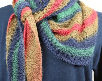 Colorful striped wool scarf, long, narrow assymetrical triangle scarf, blue, green, red, gold scarf