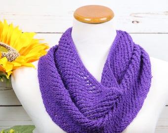 Purple cowl, circle scarf, purple infinity scarf, unisex scarf, KSU purple knitwear