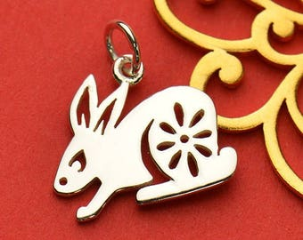 Sterling Silver Rabbit Charm. Bunny Charm.