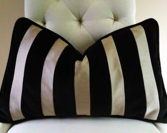 """Black Taupe Pillow Cover  Black Velvet Taupe Silk 13x22"""""""