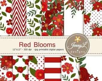 50% OFF Red Floral digital paper, Wedding Flower Paper Digital scrapbooking, invitations, birthday, wedding, Planners, Baptismal
