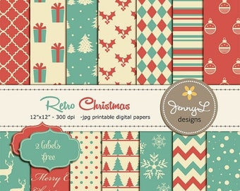 50% OFF Christmas Digital Paper, Retro Christmas, Vintage Christmas Papers, Holiday Digital Scrapbooking Paper, Antique Digital Papers