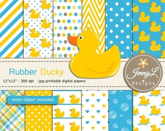 50% OFF Rubber Duck Digital papers and Clipart SET, Rubber ducky, Animal for Birthday, Baby Shower, baptism Scrapbookin, Planner