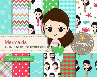 50% OFF Mermaids digital papers and clipart SET,  Under the Sea, Seaweeds, scales, Bubbles for Digital Scrapbooking, birthday invitations Pl