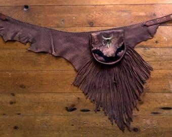 Unique, handmade leather pocket belt