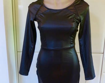 80s 90s Little Black Dress, Boohoo, Sheath dress, shiny dress, bodyhug dress fitted vintage, 10 X, 817/363