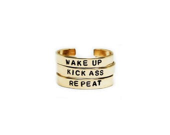 Wake Up / Kick Ass / Repeat Handstamped Rings // Feminist Jewelry + Mantra Jewelry + Motivational + Badass Rings + Workout + Inspirational