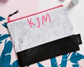 Marble and Neon Pink Personalised Initials  Zipper Pouch