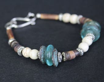 Bracelet Bohemian bone/glass/wood