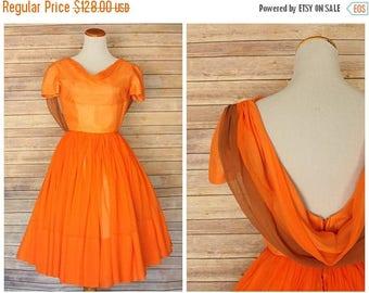 ON SALE 1950s dress | 1950s chiffon dress | 1950s evening chiffon dress | 1950s orange chiffon dress | 50s orange evening dress | 50s chiffo