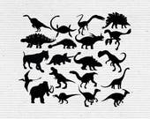 Dinosaurs Silhouette, Printable Clipart for Scrapbooking and Cardmaking with SVG cut file and Editable EPS