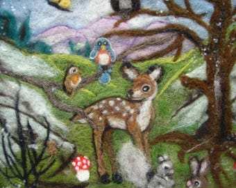 Needle Felted Painting, Needle Felted Wool Painting, Wool Painting, Felted Painting, Animal Painting, Forest Painting, Nursery Painting