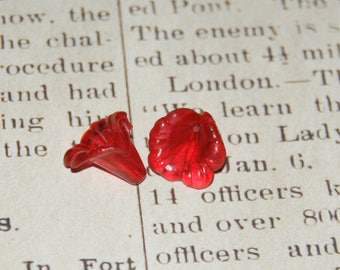 2 red flowers acrylic transparent 15x12mm