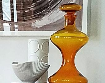 Blenko Hourglass, Wayne Husted, 5719, Jonquil, Yellow, Mid Century