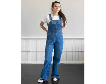 70s Denim Flare Overalls / Fits up to a Small