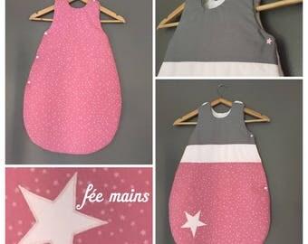 Sleeping bag 0-6 months pink cotton stars, pink, grey, powder pink