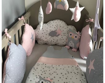 Round bed clouds in gray cotton stars white stars and pink with stars